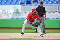 Washington Nationals Leandro Emiliani (8) during a Florida Instructional League game against the Miami Marlins on September 26, 2018 at the Marlins Park in Miami, Florida.  (Mike Janes/Four Seam Images)