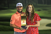 Tyrrell Hatton (ENG) and Fiancee with the trophy after the final round of the Turkish Airlines Open, Montgomerie Maxx Royal Golf Club, Belek, Turkey. 10/11/2019<br /> Picture: Golffile | Phil INGLIS<br /> <br /> <br /> All photo usage must carry mandatory copyright credit (© Golffile | Phil INGLIS)