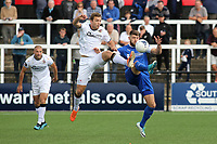 Michael Cheek of Bromley and Chesterfield's Will Evans challenge for the ball during Bromley vs Chesterfield, Vanarama National League Football at the H2T Group Stadium on 7th September 2019