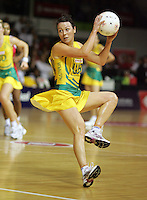 16.11.2007 Australian Laura von Bertouch in action during the Australia v England match at the New World Netball World Champs held at Trusts Stadium Auckland New Zealand. Mandatory Photo Credit ©Michael Bradley.