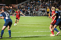Kansas City, Mo. - Saturday April 23, 2016: Portland Thorns FC midfielder Tobin Heath (17) takes a free kick against FC Kansas City at Swope Soccer Village. The match ended in a 1-1 draw.