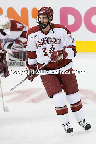Dave MacDonald (Harvard - 14) - The Northeastern University Huskies defeated the Harvard University Crimson 3-1 in the Beanpot consolation game on Monday, February 12, 2007, at TD Banknorth Garden in Boston, Massachusetts.