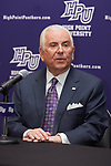 High Point University President Dr. Nido Qubein answers questions during a press conference at the Hayworth Fine Arts Center on the campus of High Point University on March 27, 2018 in High Point, North Carolina.  (Brian Westerholt/Sports On Film)