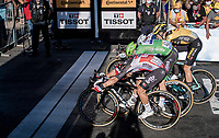 Caleb Ewan (AUS/Lotto-Soudal) wins the tight bunch sprint into Poitiers against Green Jersey Sam Bennett (IRE/Deceuninck-Quick Step), Wout van Aert (BEL/Jumbo - Visma) & (the later delegated) Peter Sagan (SVK/Bora-Hansgrohe)<br /> <br /> Stage 11 from Châtelaillon-Plage to Poitiers (168km)<br /> <br /> 107th Tour de France 2020 (2.UWT)<br /> (the 'postponed edition' held in september)<br /> <br /> ©kramon