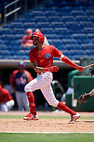 Clearwater Threshers right fielder Jose Pujols (23) follows through on a swing during a game against the Fort Myers Miracle on April 25, 2018 at Spectrum Field in Clearwater, Florida.  Clearwater defeated Fort Myers 9-5. (Mike Janes/Four Seam Images)
