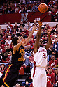 27 November 2010: Nebraska Cornhuskers guard Lance Jeter #34 drive to the lane against USC Trojans guard Marcus Simmons #43 at the Devaney Center in Lincoln, Nebraska. Nebraska defeated USC 60 to 58.