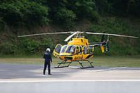 Jun 18, 2017; Bristol, TN, USA; Wellmont Health System emergency medical evacuation helicopter at the NHRA Thunder Valley Nationals at Bristol Dragway. Mandatory Credit: Mark J. Rebilas-USA TODAY Sports