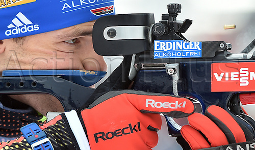 03.03.2016. Holmenkollen, Oslo, Norway.  Simon Schempp of Germany at the shooting range during the mixed relay competition at the Biathlon World Championships, in the Holmenkollen Ski Arena, Oslo, Norway, 03 March 2016.