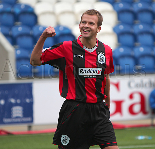 09.10.2010 Huddersfield second half substitute Jordan Rhodes celebrates his goal with the Huddersfield fansColchester United v Huddersfield Town. Division 1 match at Weston Homes Community Stadium, Colchester, Essex, England.