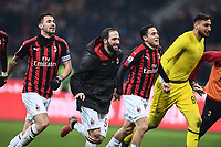 Alessio Romagnoli, Gonzalo Higuain and Gianluigi Donnarumma celebrate at the end of the Serie A 2018/2019 football match between AC Milan and SPAL at stadio Giuseppe Meazza in San Siro, Milano, December 29, 2018 <br /> Foto Image Sport / Insidefoto