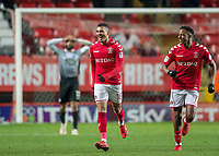 Karlan Ahearne-Grant of Charlton Athletic celebrates scoring the equalising goal with Joe Aribo of Charlton Athletic during the Sky Bet League 1 match between Charlton Athletic and Peterborough at The Valley, London, England on 28 November 2017. Photo by Vince  Mignott / PRiME Media Images.