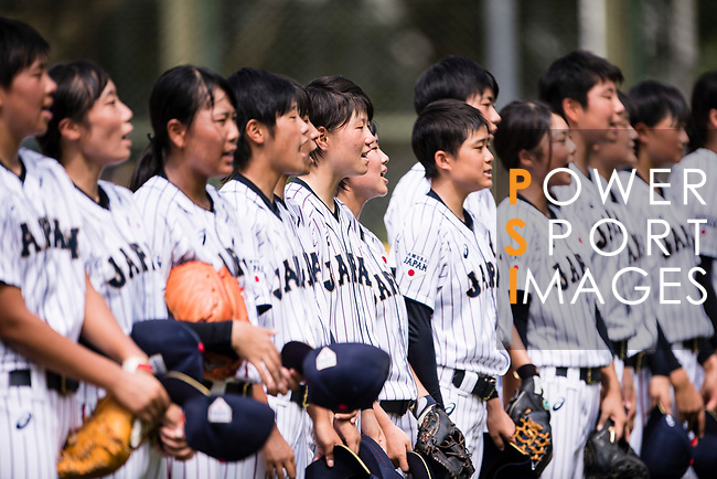 Japan Team celebrating after winning India during the BFA Women's Baseball Asian Cup match between Japan and India at Sai Tso Wan Recreation Ground on September 6, 2017 in Hong Kong. Photo by Marcio Rodrigo Machado / Power Sport Images