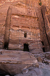The Silk Tomb, a Royal Tomb in the ruins of the Nabataean city of Petra in the Petra Archeological Park in the Hashemite Kingdom of Jordan.  A UNESCO World Heritage Site.