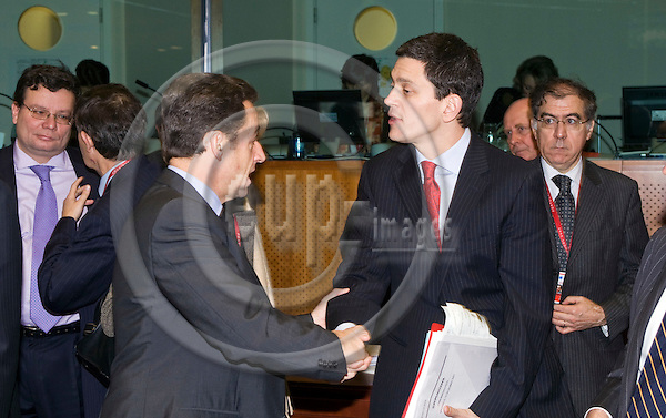 BRUSSELS - BELGIUM - 14 DECEMBER 2007 -- EU Summit with Head of Stares hosted by the Portuguese Presidency. -- Nicolas SARKOZY (Le), President of France greeting David MILIBAND, Minister of Foreign Affairs of U.K. -- PHOTO: Juha ROININEN / EUP-IMAGES