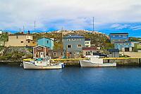 colorful houses in coastal village<br /> Rose Blanche<br /> Newfoundland &amp; Labrador<br /> Canada