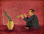 Conceptual illustration of businessman charming snake to move upward depicting growth in business