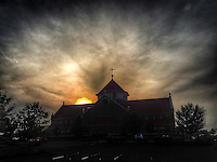 Sunrise over St. Paul the Apostle Catholic Church in Westerville, Ohio.