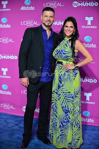 MIAMI, FL- AUGUST 20: Latin Artist Orlando Miguel and Michelle Feliz arrives at Telemundo's 'Premio Tu Mundo Awards' at America Airlines Arena on August 20, 2015 in Miami, Florida.  Credit: MPI10 / MediaPunch