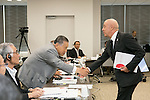 (L-R) Yoshiro Mori, Sabatino Aracu, AUGUST 7, 2015 : The Tokyo 2020 Organising Committee interviews members of the International Roller Sports Federation (FIRS), as it considers new events for inclusion in the 2020 Tokyo Olympic Games, Tokyo, Japan. (Photo by Uta MUKUO/Tokyo2020/AFLO)