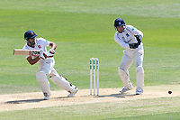 Ravi Bopara in batting action for Essex as Tim Ambrose looks on from behind the stumps during Essex CCC vs Warwickshire CCC, Specsavers County Championship Division 1 Cricket at The Cloudfm County Ground on 20th June 2017