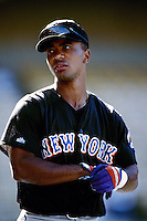 Melvin Mora of the New York Mets during a game against the Los Angeles Dodgers at Dodger Stadium circa 1999 in Los Angeles, California. (Larry Goren/Four Seam Images)