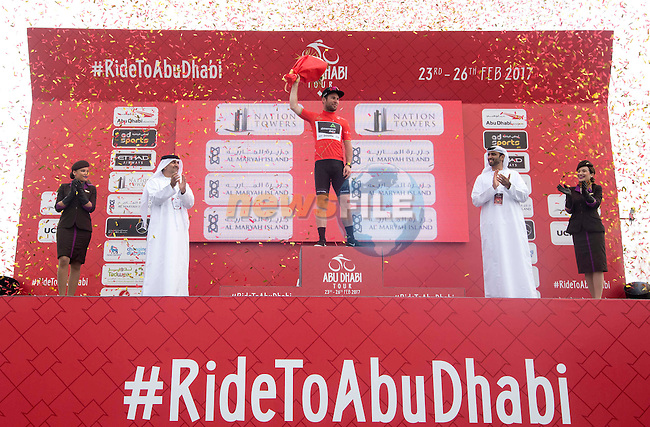 Mark Cavendish (GBR) Team Dimension Data retains the race leaders Red Jersey at the end of Stage 2 the Nation Towers Stage of the 2017 Abu Dhabi Tour, running 153km around the city of Abu Dhabi, Abu Dhabi. 24th February 2017.<br />