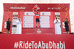 Mark Cavendish (GBR) Team Dimension Data retains the race leaders Red Jersey at the end of Stage 2 the Nation Towers Stage of the 2017 Abu Dhabi Tour, running 153km around the city of Abu Dhabi, Abu Dhabi. 24th February 2017.<br /> Picture: ANSA/Claudio Peri | Newsfile<br /> <br /> <br /> All photos usage must carry mandatory copyright credit (&copy; Newsfile | ANSA)