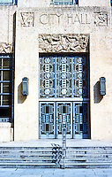 Houston: City Hall, entrance. Art Deco style. 900 Bagby St. Architect Joseph Finger. A WPA grant helped finance the project. Finished in 1939. Photo '80.