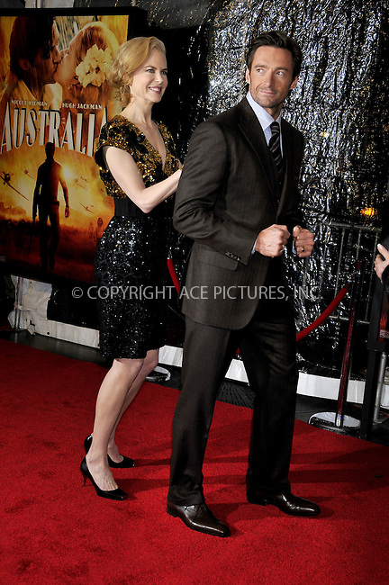 WWW.ACEPIXS.COM . . . . .....November 24, 2008. New York City.....Nicole Kidman and Hugh Jackman attend the 'Australia' Premiere held at the Ziegfeld Theater on November 24, 2008 in New York City...  ....Please byline:  AJ Sokalner - ACEPIXS.COM..... *** ***..Ace Pictures, Inc:  ..Philip Vaughan (646) 769 0430..e-mail: info@acepixs.com..web: http://www.acepixs.com