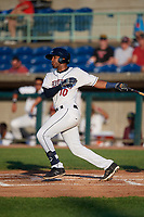 Mahoning Valley Scrappers Eric Rodriguez (10) bats during a NY-Penn League game against the Hudson Valley Renegades on July 15, 2019 at Eastwood Field in Niles, Ohio.  Mahoning Valley defeated Hudson Valley 6-5.  (Mike Janes/Four Seam Images)