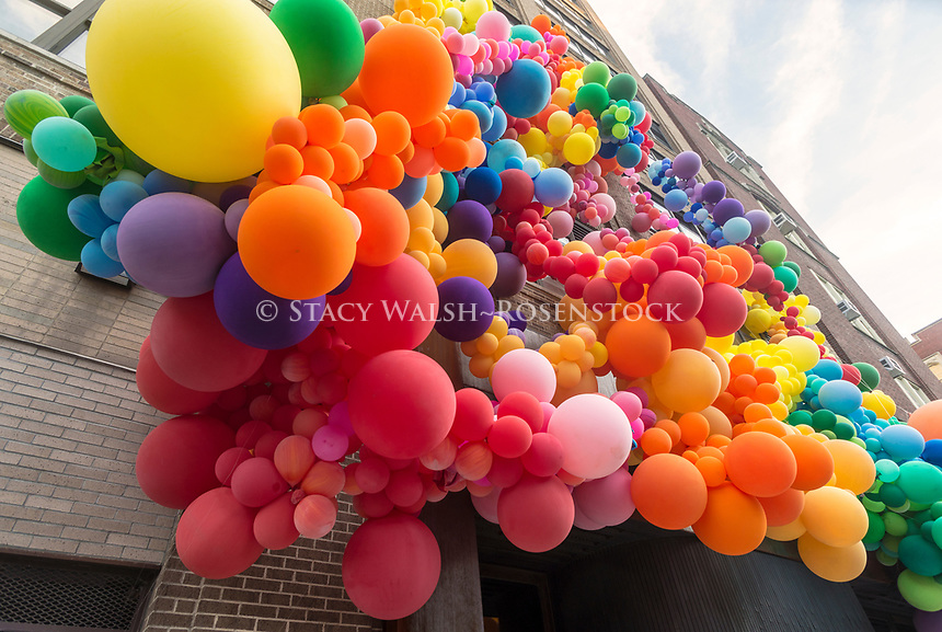 New York, NY USA- 24 June 2017 In honor of Gay Pride, Squarespace decked its Clarkson Street office facade with might be  the biggest display of rainbow-colored solidarity. <br /> Geronimo, aka L.A.-based artist Jihan Zencirli and her team, used what they say are 10,000 balloons, which ranged in size from eight inches to eight feet, to make the installation.