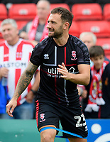 Lincoln City's Neal Eardley during the pre-match warm-up<br /> <br /> Photographer Chris Vaughan/CameraSport<br /> <br /> The EFL Sky Bet League One - Lincoln City v Fleetwood Town - Saturday 31st August 2019 - Sincil Bank - Lincoln<br /> <br /> World Copyright © 2019 CameraSport. All rights reserved. 43 Linden Ave. Countesthorpe. Leicester. England. LE8 5PG - Tel: +44 (0) 116 277 4147 - admin@camerasport.com - www.camerasport.com