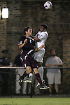 05 October 2007: Boston College's Paul Gerstenberger (2) and Duke's Zach Pope (right) challenge for a header. Boston College defeated Duke University at Koskinen Stadium in Durham, North Carolina in an NCAA Men's soccer game.