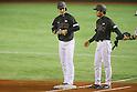 (L to R) <br /> Hikaru Ito, <br />   Arihito Muramatsu (JPN), <br /> NOVEMBER 14, 2014 - Baseball : <br /> 2014 All Star Series Game 2 <br /> between Japan and MLB All Stars <br /> at Tokyo Dome in Tokyo, Japan. <br /> (Photo by YUTAKA/AFLO SPORT)[1040]