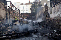 Pictured: Fire crews at the scene of a fire at Celtic Business Centre in Swansea, Wales, UK. Thursday 25 October 2018<br /> Re: Firefighters have put out a fire in Swansea, Wales, UK.<br /> The fire is in a back lane running parallel between Carlton Terrace and Mansel Street in the Mount Pleasant area.<br /> South Wales Fire and Rescue Service have confirmed that they are in attendance at the scene.