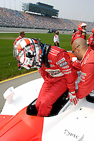 11 September, 2005, Joliet,IL,USA<br /> Sam Hornish,Jr. climbs into his car.<br /> Copyright&copy;F.Peirce Williams 2005