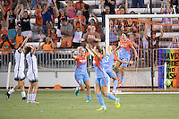 Houston, TX - Saturday July 16, 2016: Amber Brooks celebrates scoring during a regular season National Women's Soccer League (NWSL) match between the Houston Dash and the Portland Thorns FC at BBVA Compass Stadium.