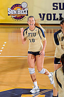 17 November 2011:  FIU outside hitter Jovana Bjelica (16) celebrates after hitting a kill shot in the first set as the FIU Golden Panthers defeated the Denver University Pioneers, 3-1 (25-21, 23-25, 25-21, 25-18), in the first round of the Sun Belt Conference Tournament at U.S Century Bank Arena in Miami, Florida.