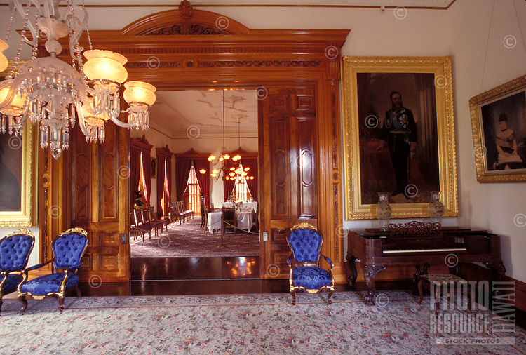 Interior of Iolani Palace, built in 1892 by King David Kalakaua, the only Royal Palace in the USA