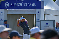 Nick Watney (USA) watches his tee shot on 1 during Round 3 of the Zurich Classic of New Orl, TPC Louisiana, Avondale, Louisiana, USA. 4/28/2018.<br /> Picture: Golffile | Ken Murray<br /> <br /> <br /> All photo usage must carry mandatory copyright credit (&copy; Golffile | Ken Murray)