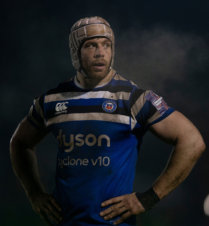 Bath Rugby's Dave Attwood<br /> <br /> Photographer Bob Bradford/CameraSport<br /> <br /> Gallagher Premiership - Bath Rugby v Gloucester Rugby - Monday 4th February 2019 - The Recreation Ground - Bath<br /> <br /> World Copyright © 2019 CameraSport. All rights reserved. 43 Linden Ave. Countesthorpe. Leicester. England. LE8 5PG - Tel: +44 (0) 116 277 4147 - admin@camerasport.com - www.camerasport.com