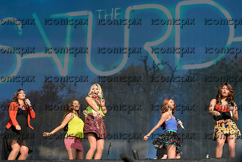 The Saturdays - L-R: Frankie Sandford, Rochelle Humes, Mollie King, Una Healy, Vanessa White - performing live on the main stage at Barclaycard presents British Summer Time in Hyde Park London UK - 07 Jul 2013.  Photo credit: George Chin/IconicPix