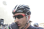 Fabian Cancellara (SUI) Trek Factory Racing arrives at sign on in San Gimignano before the start of the 2014 Strade Bianche race over the white dusty gravel roads of Tuscany, Italy. 8th March 2014.<br /> Picture: Eoin Clarke www.newsfile.ie