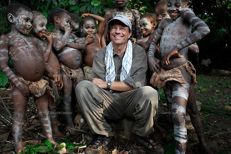 Randy Olson with Pygmy boys near the end of the nKumbi ritual.