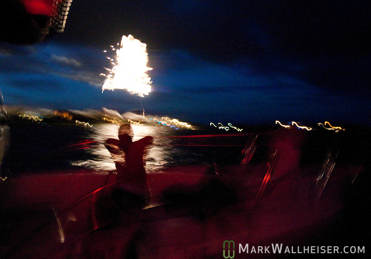 Watching the 4th of July fireworks from a boat at Shell Point in Wakulla County, Florida.