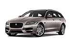 Stock pictures of low aggressive front three quarter view of a 2018 Jaguar XF Sportbrake R Sport 5 Door Wagon