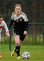 20141126 - TUBIZE , BELGIUM : Belgian Petra Baldewijns pictured during the Friendly female soccer match between Women under 19 / 21  teams of  Belgium and Turkey .Wednesday 26th November 2014 . PHOTO DAVID CATRY