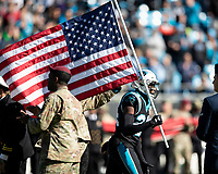 CHARLOTTE, NC - NOVEMBER 17: James Bradberry #24 of the Carolina Panthers enters the field prior to the game during a game between Atlanta Falcons and Carolina Panthers at Bank of America Stadium on November 17, 2019 in Charlotte, North Carolina.