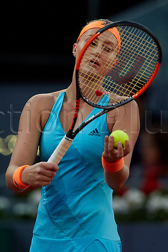 May 12th 2017, Caja Magica, Madrid, Spain; Mutua Madrid Open tennis tournament; Kristina Mladenovic of France serves as she wins against Svetlana Kuznetsova of Russia in 2 sets