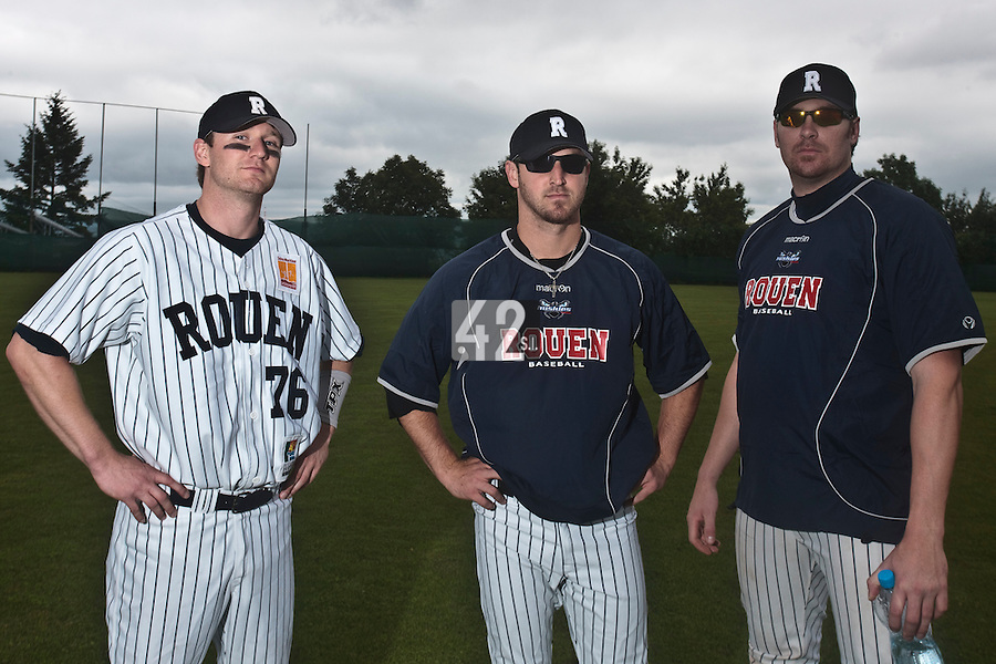 03 June 2010: Shortstop Aaron Hornostaj of Rouen, Mike Musgrave and Justin Staatz pose prior to the 2010 Baseball European Cup match won  8-4 by C.B. Sant Boi over the Rouen Huskies, at the Kravi Hora ballpark, in Brno, Czech Republic.